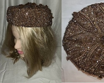 Vintage 1950s Hat Small Round Plum Brown Floral Sequin Bead Pillbox Hat France Designer Rockabilly 22 in.