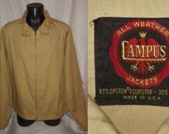 Vintage Men's Jacket 1950s LightweightCotton Blend All Weather Jacket Campus Brand USA Rockabilly Hot Rod XL chest to 52 in.