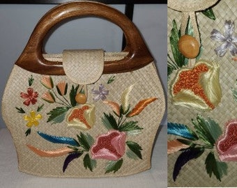 Vintage Straw Purse Large 1960s Colorful Floral Embroidered Light Straw Bag Wood Handles Bags by Whidby
