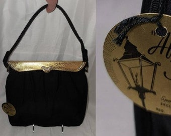 Unused Vintage 1950s Purse Black After Five Cocktail Bag Gold Metal Rhinestone Frame NWT Rockabilly