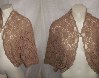 Vintage 1950s Lace Jacket Pink Beige Lace Bolero Jacket Embroidered Floral Net Lace Shrug Cocktail Jacket Rockabilly L chest to 39 in