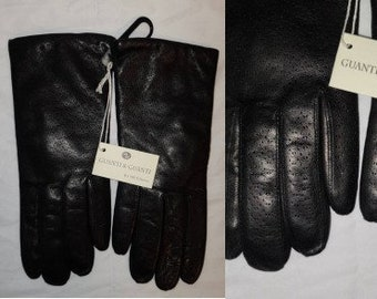 Unworn Vintage Gloves 1990s 2000s Soft Black Leather Gloves Wool Lined Guantes & Guantes Made in Italy NWT 7