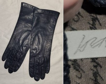 Vintage Leather Gloves 1980s 90s Thin Dark Blue Leather Gloves Lord & Taylor Signature Lining Boho 6 1/2