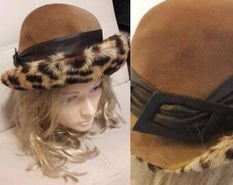 Vintage Fur Hat 1960s Tan Felt Leopard Print Fur Hat Large Fur Brim Leather Buckle Detail German Boho Art Deco 22 inches