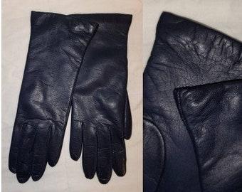 Vintage Leather Gloves 1980s 90s Soft Dark Blue Leather Gloves Grandoe Wool Lined Boho Winter Gloves 6 1/2