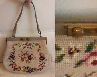 Vintage Embroidered Purse 1960s 70s Beige Wool Purse Colored Floral Embroidery German Gobelin Rockabilly Boho