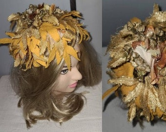 Vintage 1950s Hat Metallic Gold Leaves Flowers Whimsical Hat Lisa NY Paris Rockabilly Chic 21 in.