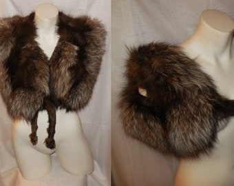 Vintage Fox Fur Stole 1930s Small Silver Fox Fur Wrap Unique Round Arms Butterfly Style Stole Glamour Art Deco Flapper Burlesque