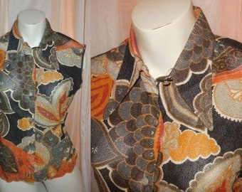 Vintage Metallic Blouse 1960s 70s Psychedelic Floral Print Silver Black Orange Lurex Semi Sheer Blouse Top Boho M chest to 39 in