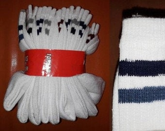 Deadstock Vintage Tennis Socks 10 Pair Unworn 1980s Long White Athletic Socks Colored Rings Cotton Blend NWT Sports Skater German 39 to 42