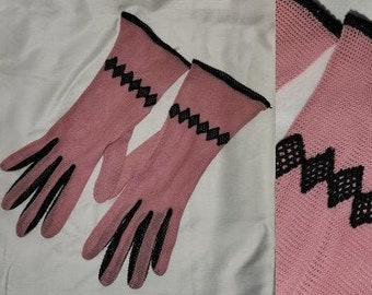 Vintage 1930s Gloves Salmon Pink Black Net Mesh Gloves Diamond Appliques German Art Deco sz 7 or so