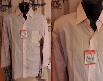 Unworn Vintage Men's Shirt 1950s Light Pink Arrow Sanforized Long Sleeve Shirt French Link Cuff NWT Business Shirt USA Rockabilly L 16.5 33