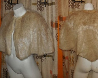 Vintage Fur Cape 1930s 40s Blonde Beige Fur Shoulder Cape Satin Lining Art Deco PInup S M