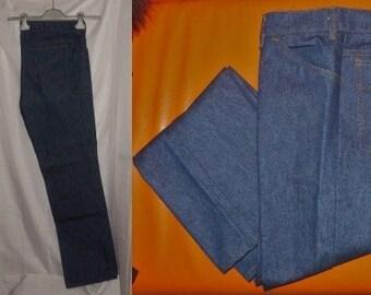 Unworn Vintage Jeans 1970s Denim 5 Pocket Dark Jeans Pocket Stitching German Boho 36 x 32 waist 36 in.