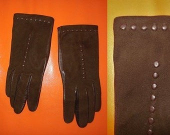 Vintage Leather Gloves 1950s 60s Thin Fine Dark Brown Leather Suede Gloves Raised Dot Detail Rockabilly Mod sz. 6 3/4