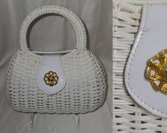 SALE Vintage 1970s Purse White Vinyl Wicker Woven Round Purse Gold Metal Ornament Rockabilly Boho