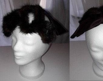 Vintage Fur Hat 1950s Brown Mink Fur Cage Hat Half Hat Cocktail Hat Large Satin Bow Spangehut Elegant Rockabilly small mends