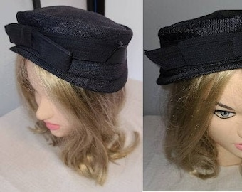 Vintage 1940s 50s Hat Large Navy Blue Straw Half Hat Large Bow Across Front Sunnycrest Original Rockabilly 22 in.