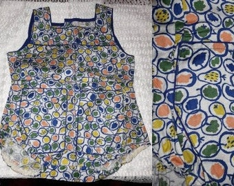 Unworn Child's Romper 1960s Abstract Fruit Print Baby One Piece Unisex NWOT East Germany DDR