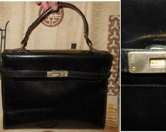 069152ce8068 Vintage 1950s Purse Black Leather Large Kelly Bag Handbag Mateus Handmade  in Florence Italy Metal Hardware Leather Strap Rockabilly
