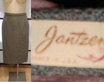 Vintage 1950s Skirt Green Jantzen Wool Tweed Pencil Skirt Rockabilly Pinup L waist 30 in.