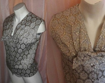 Vintage Metallic Blouse 1960s Gold Silver Lame Patterned Sleeveless Top Huge Bow German Rockabilly Mod M chest to 38 in.