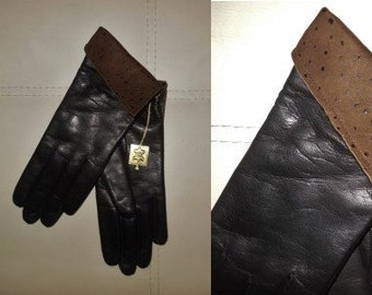 DEADSTOCK Vintage Gloves 1970s Soft Black Leather Gloves Brown Cuffs Lined Unworn NWT Mod Pirate German 6 1/2
