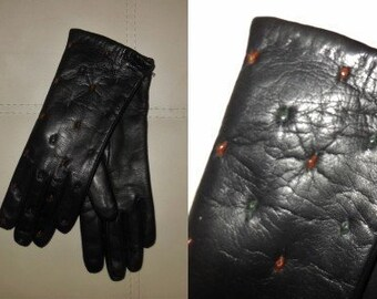 DEADSTOCK Vintage Gloves 1960s Soft Black Leather Gloves Colored Dots Wool Lined Unworn NWOT Rockabilly German 7