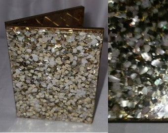 Vintage Cigarette Case 1950s Chunky Gold Pearl Glitter Lucite Goldtone Metal Cigarette Case Rockabilly 3.75 x 3 in.