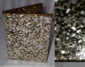 Vintage Cigarette Case 1950s Chunky Gold Pearl Glitter Lucite Goldtone Metal Cigarette Case Rockabilly 3.75 x 3 in.