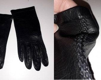 Vintage Leather Gloves 1950s 60s Thin Very Dark Blue or Black Leather Gloves Open Basket Weave Sides Elegant Rockabilly Fine Leather 6 1/2 7