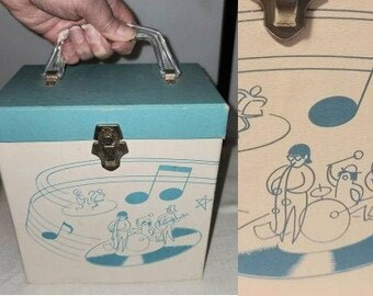 Vintage Record Case 1950s Platter Pak 45 Single Record Holder Carrier Blue White Great Graphic Stick Figure Band and Dancers Rockabilly