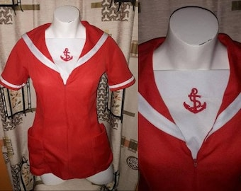 Vintage Nautical Top 1970s Bright Red White Polyester Sailor Style Top Zip Front Pockets Anchor Emblem Zip Front Waitress Uniform S