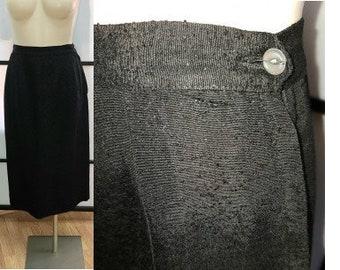 Vintage 1950s Skirt Black Rayon Linen Pencil Skirt Rockabilly Pinup S waist 26 in.