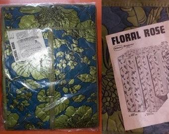Unused Vintage Dress Bag 1960s Blue Green Floral Vinyl Hanging Closet NIP Clothing Storage Bag USA Mod 15 x 20 x 54 in. or larger