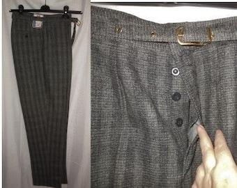 DEADSTOCK Vintage Men's Pants 1950s 60s Trousers Gray Wool Striped Dress Pants Button Fly Belt NWT Unworn German Rockabilly S waist 30 in.