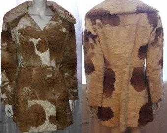Vintage Fur Coat 1960s Mod Lamb Fur Lightweight Short Swinger Coat Brown White Spotted Design Boho M