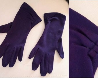 Vintage 1950s Gloves Two Tone Dark Purple Fabric Day Gloves Just Past Wrist Rockabilly Pinup 7