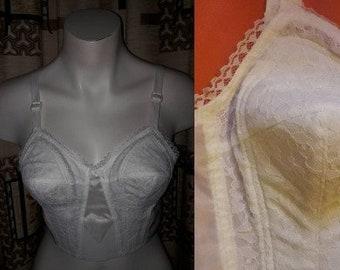 DEADSTOCK Vintage Bra 1950s Semi Sheer White Nylon Lace Unworn German Rockabilly Pinup Wedding Bridal Hochzeit 38 85 B C