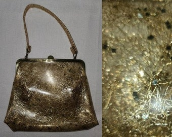 Vintage 1950s Purse Small Clear Vinyl Gold Tinsel Chunky Glitter Top Handle Purse Rockabilly