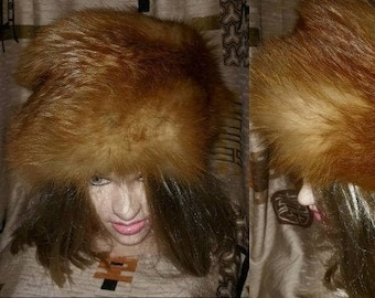 Vintage Fur Hat 1960s 70s Red Fox Fur Oversize Round Pillbox Pouf Cossack Hat Boho 23 inches