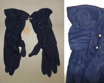 Unworn Vintage Gloves 1940s 50s Dark Blue Nylon Gloves Kayser Buttons at Wrist NWT Rockabilly 6 1/2