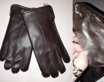 Vintage Men's Gloves 1960s 70s Fur Lined Gloves Dark Brown Leather or Vinyl Ritzer Boho M