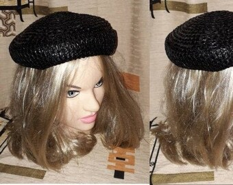Vintage 1950s Hat Small Round Black Straw Cocktail Hat Day Hat Betmar USA Rockabilly 20.5 in