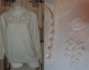 Vintage 1970s Sweater Cream Acrylic Pullover Tiny Pearls 3D Embroidery Moonglow Buttons German Pulli Pullover Boho L XL chest to 43 in.