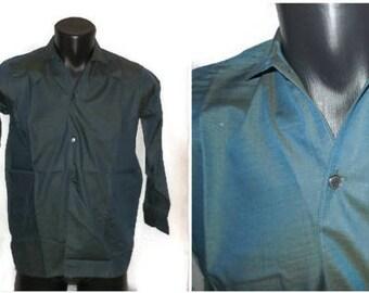 Unworn Vintage Men's Shirt 1950s Irridescent Blue Long Sleeve Shirt NWOT Rockabilly Boys Teenager XS Men's chest to 38 inches 97 cm