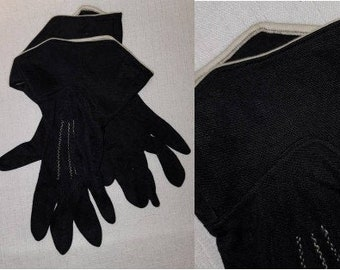 Vintage 1940s 50s Gloves Black Nylon Midlength Gauntlet Gloves Cream Trim Film Noir Rockabilly Pinup
