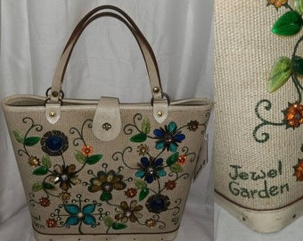 Vintage Enid Collins Purse 1960s Jeweled Canvas Leather Bucket Purse Jewel Garden ec Collins of Texas Designer Rockabilly Boho