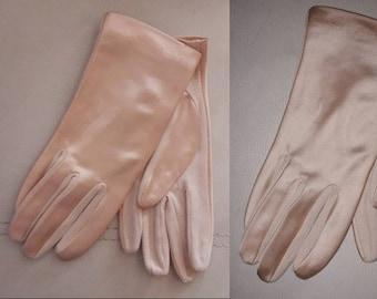 Vintage 1950s Gloves Blush Pink Satin Short Gloves USA Rockabilly Pinup Burlesque 7 7 1/2