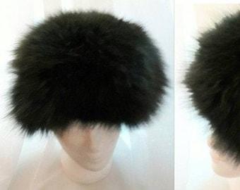 Vintage Fur Hat 1960s 70s Dark Green Dyed Fluffy Fox Fur Hat German Boho Hunter Green Fur Hat 22.5 in. 57 cm